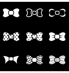 White bow ties icon set vector