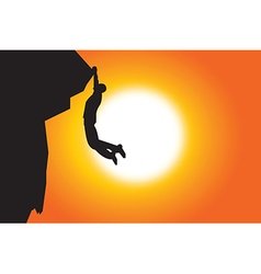 Silhouette of man climbing in sunset background vector