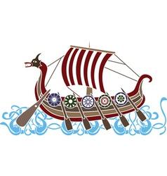 vikings boat colored vector image