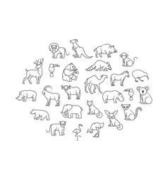 Animal icons zoo animals vector