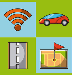 Autonomous car wifi connection map gps flag and vector