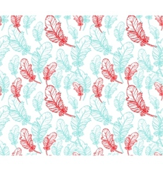 Blue and pink feathers seamless pattern vector