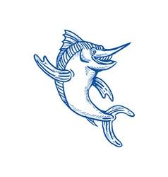 Blue marlin waving hello vector