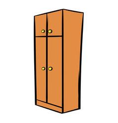 brown wardrobe icon cartoon vector image
