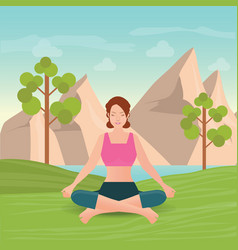 Calm woman is doing yoga and meditation vector