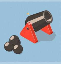 Cannon and cannonballs vector