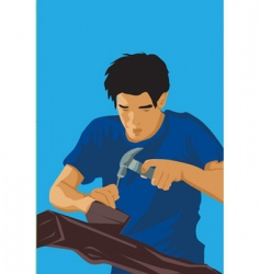 carpenter hit nail vector image