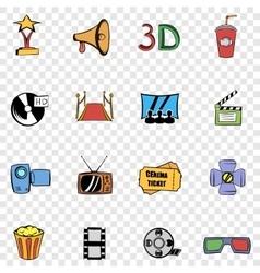 Cinema set icons vector image vector image