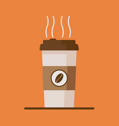 Coffee cup icon with coffee beans on orange vector