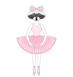 Cute raccoon girl in dress like ballerina hand vector