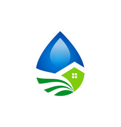 Droplet water ecology house logo vector