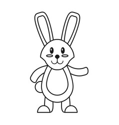 easter bunny cute standing thin line vector image