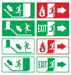 Emergency exit signs vector
