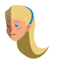 Face woman head long hair blonde style vector