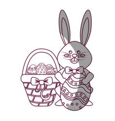 Figure rabbit easter with eggs inside of hamper vector