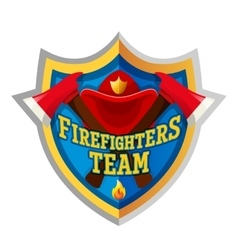 Firefighter emblem label badge and logo on white vector image vector image