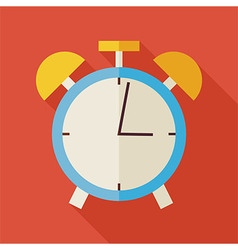 Flat alarm clock with long shadow vector
