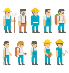 Flat design farmers set vector