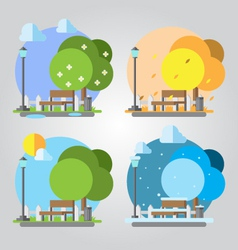 Flat design four seasons park vector image vector image