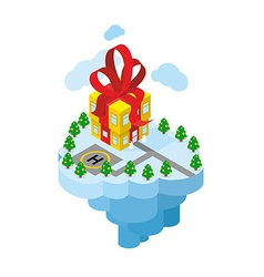 Flying residence of santa claus building gift - vector