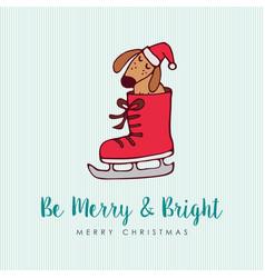 funny christmas puppy dog cartoon greeting card vector image vector image