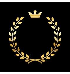 Gold laurel wreath with crown vector