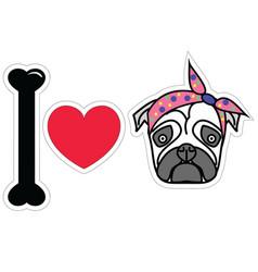 I love pug female pug with tie scarf vector