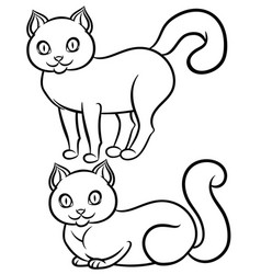 isolated black-n-white lying and standing cat vector image vector image