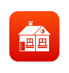 large single-storey house icon digital red vector image