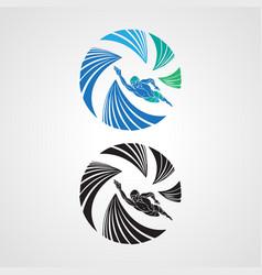 Logo swimmer icon element template round vector