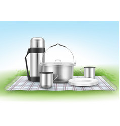 Picnic blanket with tableware vector