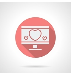 Round pink love chat flat icon vector image vector image