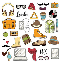 Set of graphic elements hipster accessories vector