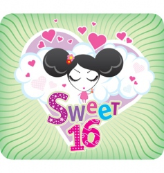 sweet sixteen greeting card vector image