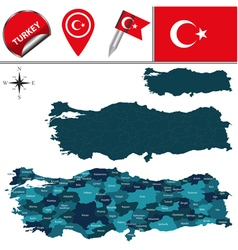 Turkey map with named divisions vector image vector image