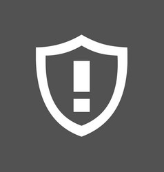 Warning shield icon on a dark background vector