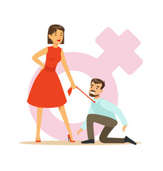 Woman in red dress holding her man by his tie vector