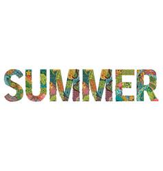 Word summer decorative zentangle object vector