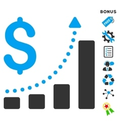 Sales growth flat icon with bonus vector