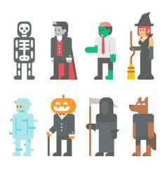 Flat design halloween people set vector