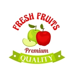 Fresh apple premium quality fruits sticker vector