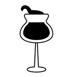 glass cup wine drink design outline vector image