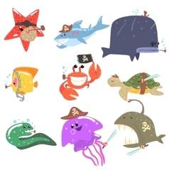 Marine animals and underwater wildlife with pirate vector