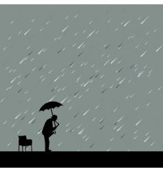 saxophonist in rain vector image
