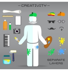 Creative set of artist vector