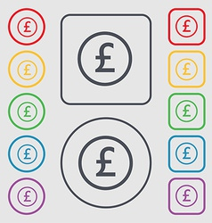Pound sterling icon sign symbol on the round and vector
