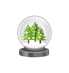 Modern snow globe with pine trees vector