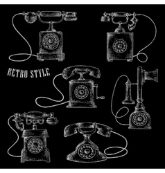 Retro rotary dial telephone icons vector