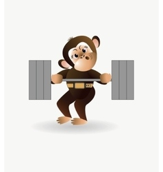 Monkey is engaged with a barbell 1 vector image