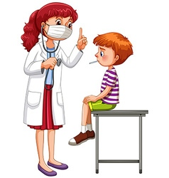 Doctor examining little sick boy vector